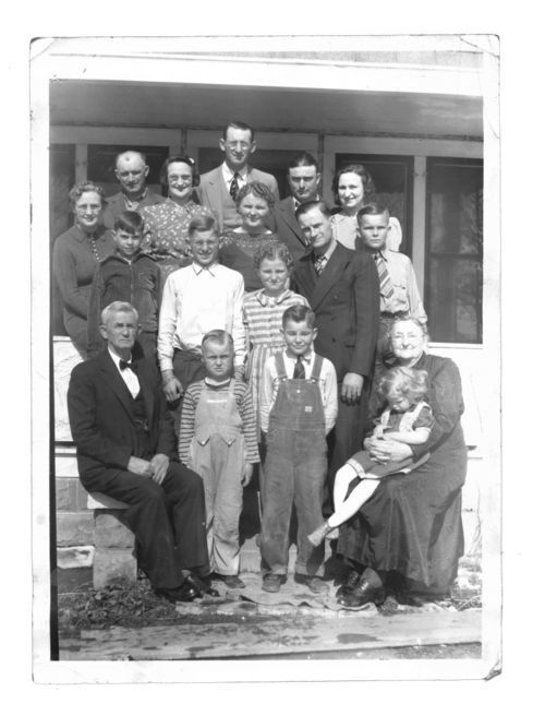 Large family on porch